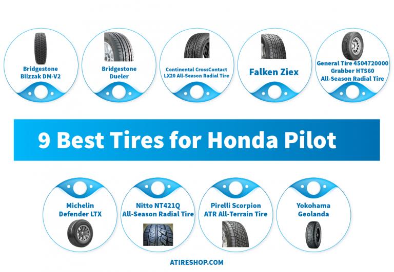 9 Best Tires for Honda Pilot Info-Graphic by atireshop.com